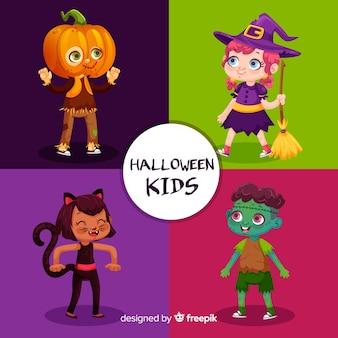 Pacchetto di personaggi per bambini halloween piatto