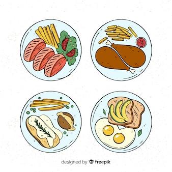 Pacchetto di piatti di cibo disegnato a mano