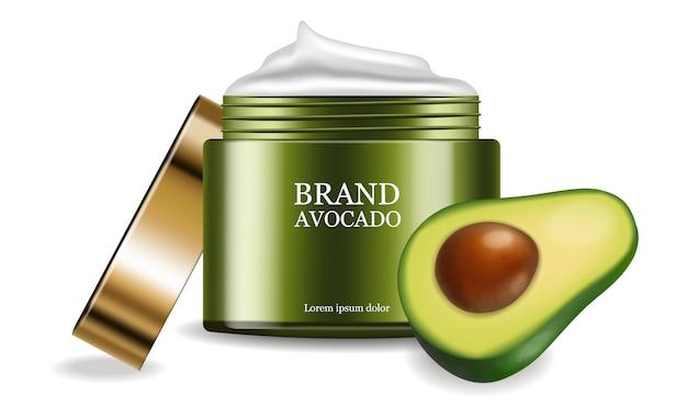 Pacchetto di posizionamento del prodotto in crema di avocado