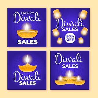 Pacchetto di post di vendita di instagram diwali felice