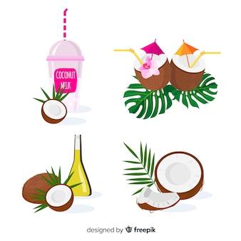 Pacchetto di prodotti di cocco piatto