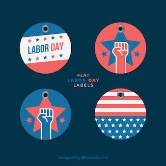 Pacchetto di quattro rotonde etichette labor day