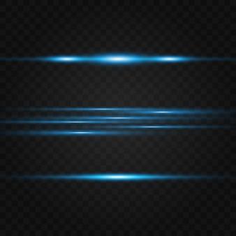 Pacchetto di razzi blu con lente orizzontale. raggi laser, raggi di luce orizzontali. bellissimi bagliori di luce.