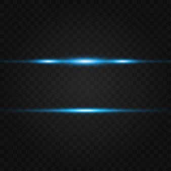 Pacchetto di razzi blu con lente orizzontale. raggi laser, raggi di luce orizzontali