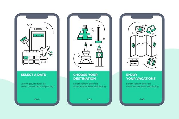 Pacchetto di schermate delle app di viaggio