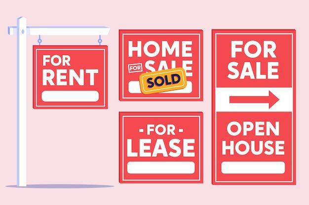 Pacchetto di segni di vendita immobiliare