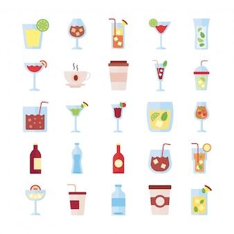 Pacchetto di set di icone di raccolta di bevande