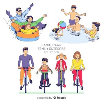 Pacchetto di situazioni all'aperto per famiglie disegnate a mano