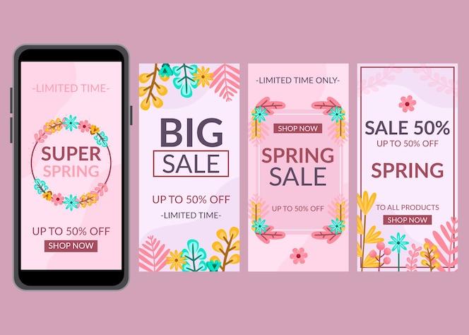 Pacchetto di storie instagram di vendita di primavera