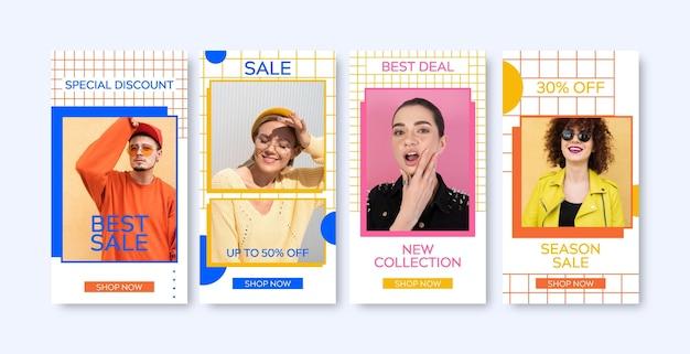 Pacchetto di storie instagram vendita colorata