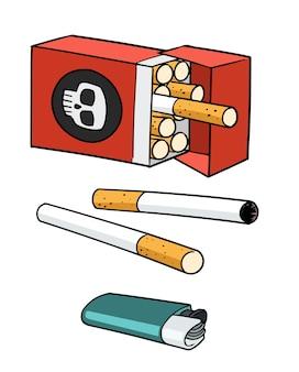 Pacchetto di tabacco e accendino