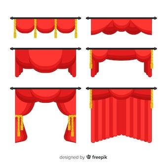 Pacchetto di tende rosse piatte