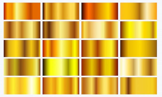 Pacchetto di texture sfumate gialle realistiche. set di sfumature di metallo dorato lucido
