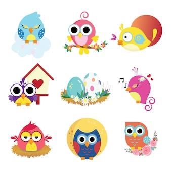 Pacchetto di uccelli carino