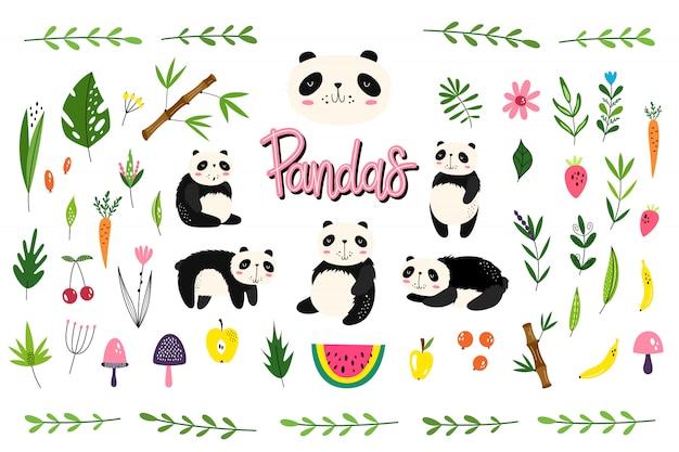 Pacchetto di vettore con i panda