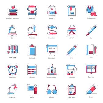 Pacchetto di vettori dell'icona di istruzione scolastica
