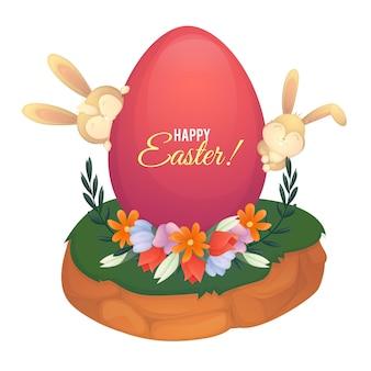 Pacchetto disegnato a mano dell'uovo di pasqua di progettazione