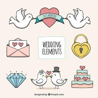 Pacchetto disegnato a mano di elementi di nozze