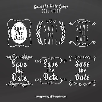 Pacchetto divertente delle etichette di nozze della lavagna