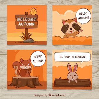 Pacchetto divertente di autunno con animali