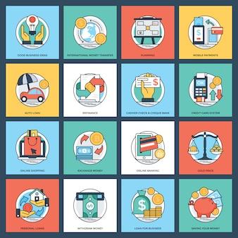 Pacchetto esclusivo di icone di finanza e bancari