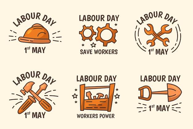 Pacchetto etichetta festa del lavoro disegnato a mano