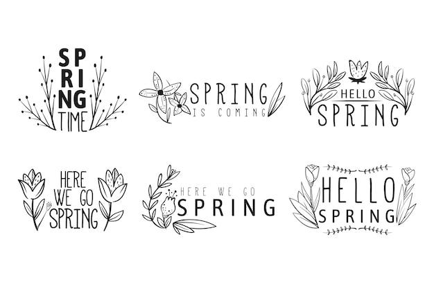 Pacchetto etichetta primavera disegnata a mano