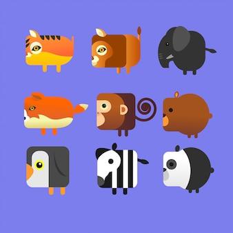 Pacchetto icona animale quadrata