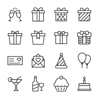 Pacchetto icona linea celebrazione di compleanno