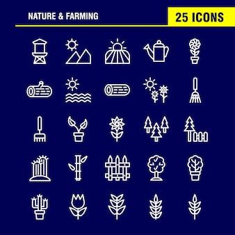 Pacchetto icona nature and farming line. granaio, costruzione, porta, fattoria, agricoltura, natura, rotondo, montagna