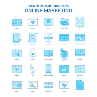 Pacchetto icona tono blu di marketing online