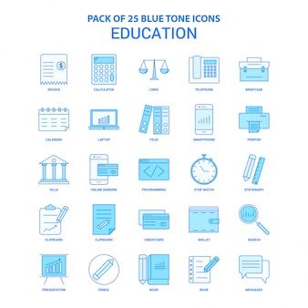 Pacchetto icona tono blu educazione