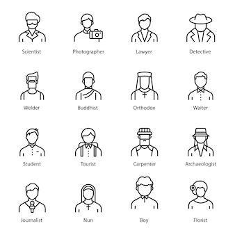 Pacchetto icone linea avatar professionale