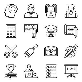 Pacchetto icone linea di apprendimento
