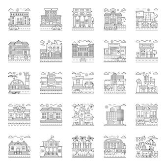 Pacchetto illustrazioni città edifici
