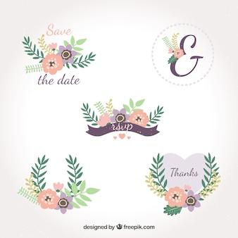 Pacchetto incantevole di etichette di nozze