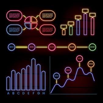 Pacchetto infografica in stile neon