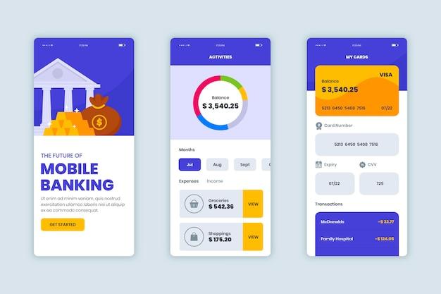 Pacchetto interfaccia app bancaria