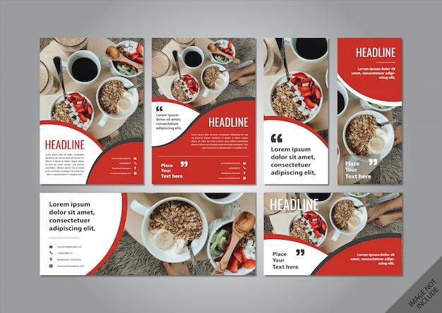 Pacchetto layout tema cibo rosso