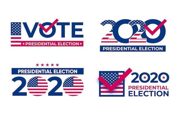 Pacchetto logo elezioni presidenziali americane 2020
