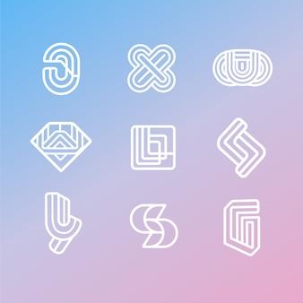 Pacchetto logo lineare stile astratto