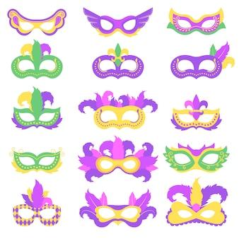 Pacchetto maschera di carnevale per il festival del martedì grasso
