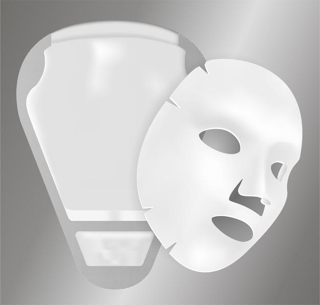 Pacchetto maschera facciale con foglio vettoriale 3d. bustina.