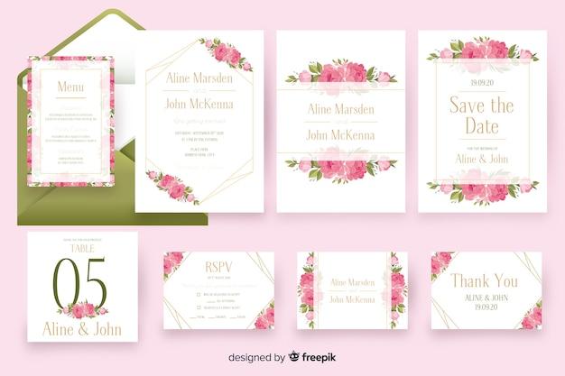 Pacchetto modello di elementi decorativi di nozze floreali