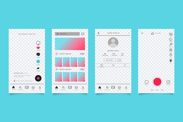 Pacchetto modello di interfaccia app tiktok