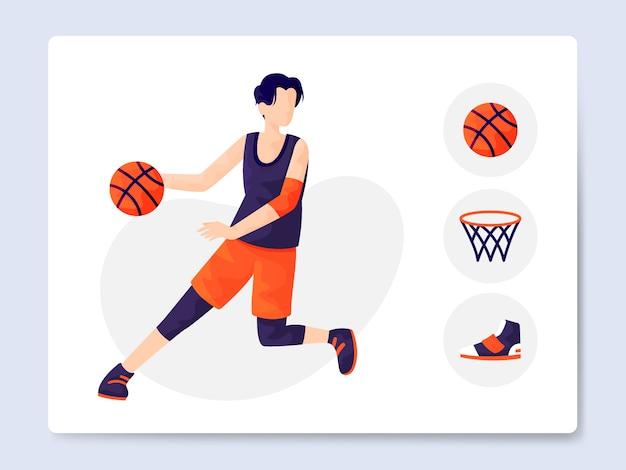 Pacchetto moderno dell'illustrazione dell'attrezzatura di pallacanestro