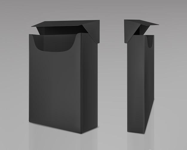 Pacchetto nero aperto vuoto di sigarette sottili