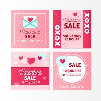 Pacchetto post di instagram di vendita di san valentino