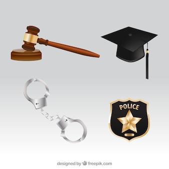 Pacchetto realistico di elementi di legge e giustizia