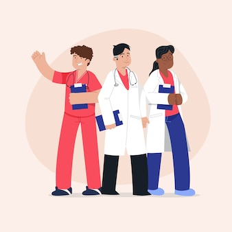 Pacchetto team di professionisti della salute